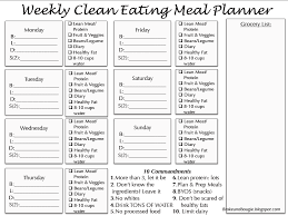 Clean Eating Meal Planning Chart Clean Eating Meal Plan Printable Bonus Clean Eating