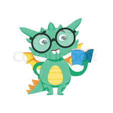 little anime style smart bookworm baby dragon reading a book cartoon character emoji ilration vector childish emoticon drawing with fantasy dragon like