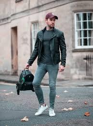 mens street style allsaints cargo leather jacket mcm backpack teal orange