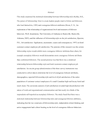 the evaluation of a paradigm the critical examination of the influen terry fobbs 2010 4 abstractthis study examined the statistical relationship between followership