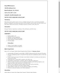 Entry Level Rn Resumes Professional Entry Level Nursing Assistant Templates To