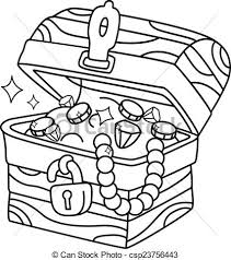 Coloring Page Treasure Chest Illustration Of A Ready To Print