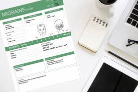 Headache Tracker Chart Green Migraine Tracker For Men A5 And Letter Sizes Printable Download Headache Tracker Symptom Diary Male Face Chart To Track Pain
