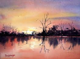 lake bonney sunset completed watercolor painting demonstration by joe cartwright