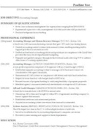 Career Objective Resume Accountant Objectives For A Marketing