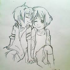 anime chibi couple drawing. Plain Drawing Chibi Anime Couple Hugging Drawing Of  And I