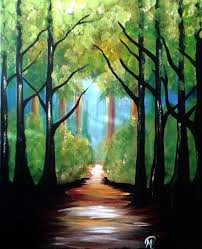 leaving the forest out of the darkness and into the light of nature acrylic on canvas 16 by 20 in diy painting with the assistance of a talent paint coach