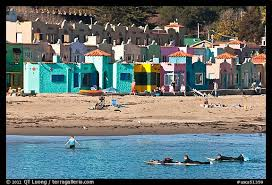 Surfers, Beach, And Venetian Hotel Cottages. Capitola, California, USA