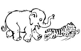 Elephant Coloring Page Tiger Cub Plays With Baby Elephant Coloring