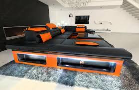 Details About Big Sectional Sofa Atlanta U Shape Design Sofa Genuine Leather With Led Lights