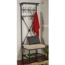 corner metal entryway storage bench coat rack tradingbasis for wood seat shoe hooks mudroom and nifty interior brown wooden with mirror aa aea seemly
