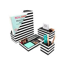 Cute office organizers Elegant Blu Monaco Black White Stripes Desk Organizers And Accessories Piece Desktop Cubicle Decor Snacknation Cute Desk Organizers And Accessories Amazoncom