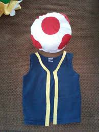 toad outfit blue shirt and yellow fabric for the trim felt hat and stuffing