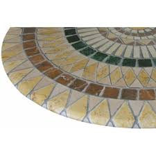 mosaic table cloth round 36 to 48 elastic edge fitted vinyl table cover tuscan tile pattern brown tan yeqnuhndp