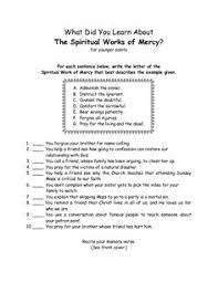 works of mercy worksheet spiritual works of mercy worksheet google search church pinterest