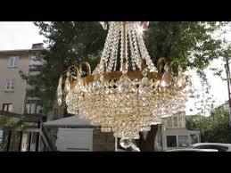 antique vinatge basket style real swarovski crystal chandelier 1940 s