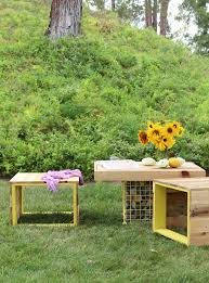 outdoor pallet furniture ideas. Pallet Bench And Gabion Table Outdoor Furniture Ideas