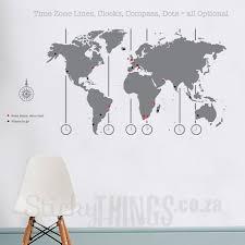 grey world map decal