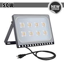 1x 50w led flood light with us plug warm white outdoor spotlight garden lamp