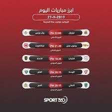 جدول مواعيد مباريات اليوم الثلاثاء 22 – 10 – 2019 والقنوات الناقلة - سبورت  360