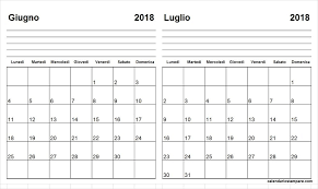 Calendario Giugno Luglio 2018 Da Stampare Giu