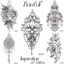 Baofuli ženy Diy Henna Květiny Dočasné Tetování černou Lotus Rukáv