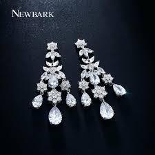 cubic zirconia chandelier earrings three tassel chandelier earrings inlay big teardrop crystal stone with flower adorned