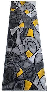 masada rugs modern contemporary runner area rug yellow grey black 2 feet x 7 feet