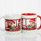 Personalized Photo Christmas Mug - Chevron - 15041