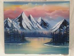 mountains oil painting bob ross inspired painting spiritual lake water unicorn colours landscape pink house wall decor wall art