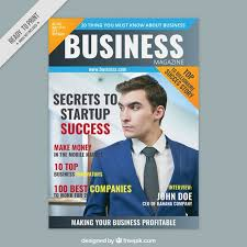 business magazine cover with an entrepreneur free vector