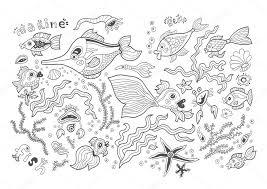 Vettore Di Animali Marini Da Stampare Scheda Di Vettore Marino