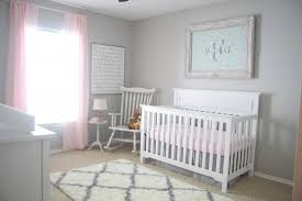 rug on carpet nursery. Vintage Style Nursery Idea White Baby Crib Rocking Chair Pink Window Curtains Grey Walls Rug On Carpet R