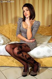 With her pantyhose sexy brunette