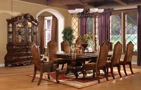 elegant formal dining room sets with brown painted table as well as antique wooden dining chairs frames in luxury dining room decor and furnishing designs