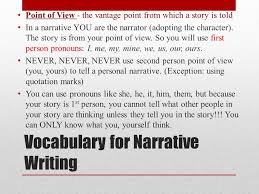 narrative essay students will write a narrative essay analyzing a vocabulary for narrative writing point of view the vantage point from which a story is