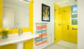 modern bathroom design with yellow tiles