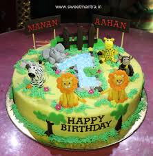 Animal Jungle Theme Customized 3d Designer Cake For Twin Boys 1st