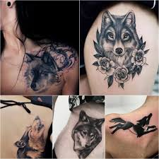 фото тату волка для девушек