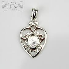 hhj023sssterling silver pendant heart with setting