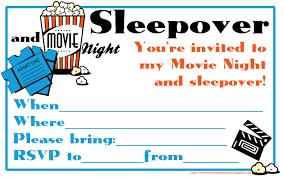 sleepover template movie night and sleepover invitation template emuroom