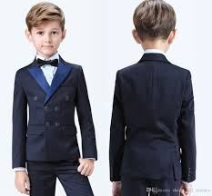 Boys Designer Blazer 2019 Stylish Popular Double Breasted Peak Lapel Kid Complete Designer Handsome Boy Wedding Suit Boys Attire Jacket Pants Bow Vest Boys Clothing Boys