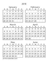 printable 6 month calendar 2019 download 2018 printable calendars