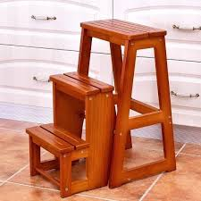costway wood step stool folding 3 tier ladder chair bench seat folding wooden step stool