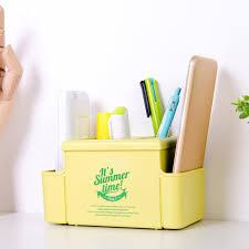 plastic office desk. Office Desk Multifunction Stationery Insert Box Plastic Multi-Pen Holder - CORN YELLOW 14.7X9