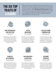 Good Work Traits Infographic The Six Top Traits Of Leaders Morisey Dart Group