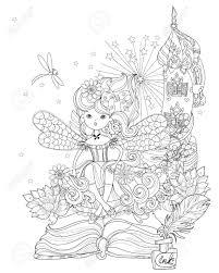 魔法の物語からベクトルかわいい姫妖精の女の子ベクトル線禅アート イラストはがき印刷や大人の塗り絵