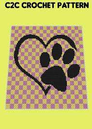 Chart Dog Graph Love Paw Cat Dog Lover C2c Crochet Pattern Chart Graph Plus Free Written Patterns