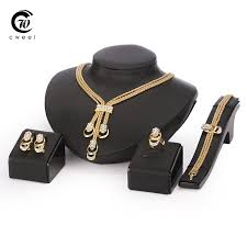 jewelry set for women gold glated beads collar necklace earrings bracelet fine rings sets party costume latest fashion trendy
