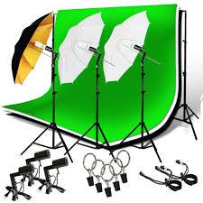 studio lighting photography photo 3 backdrops stand muslin photo light kit